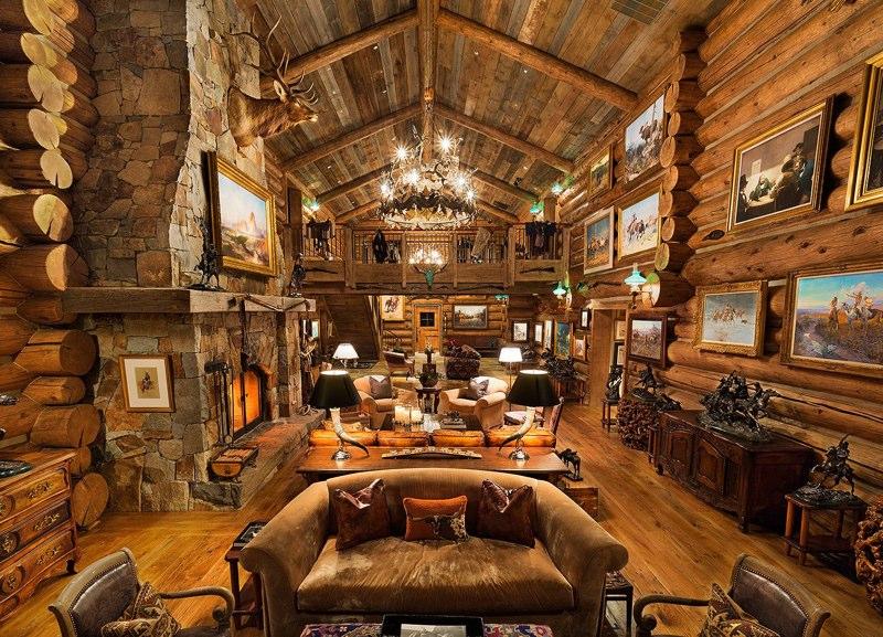 Amerikaanse miljardair verkoopt gigantisch chalet snowchamps - Houten chalet interieur ...